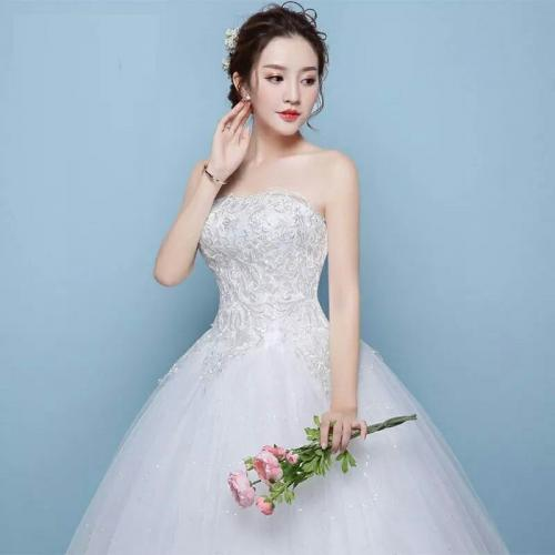 Boob tube ball gown wedding dress