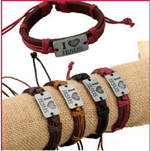 Genuine leather I love Jesus wristbands unisex